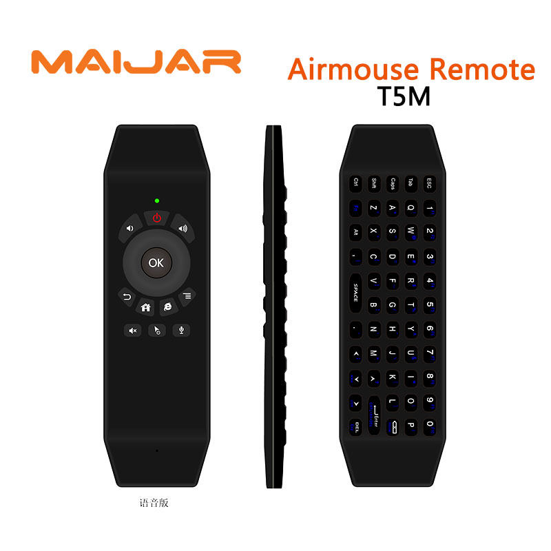 T5M mini 2.4G airfly mouse ir learning remote control wireless keyboard smart sensory game handle work for smart tv android box
