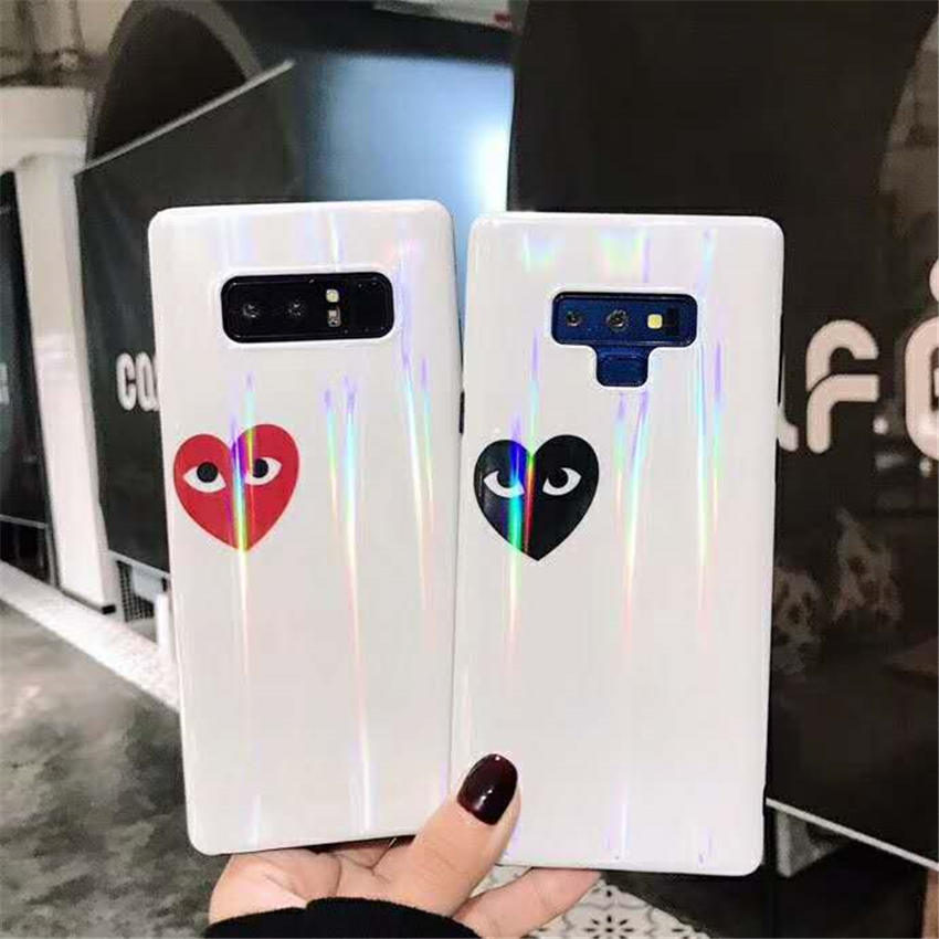 Full Back Phone Cases For Galaxy S7 Edge S9+ S8 Plus Note 8 9 Rainbow Glitter Laser Colorful Eyes Love Heart Pattern Covers Capa