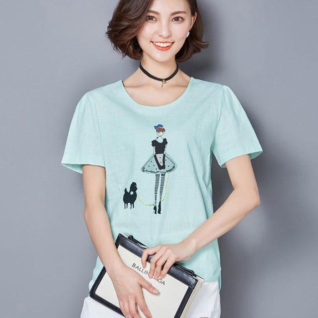 4a1b2b5639411 Korean Fashion Girl Cartoon Print Cotton T-shirt Womem Summer Tops Loose  Puff Sleeve T