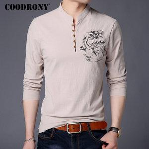 Image 2 - COODRONY Chinesischen Stil Stehkragen T Shirt Männer Langarm Baumwolle T Shirt Männer Kleidung 2018 Leinen T Hemd Homme T shirt t006