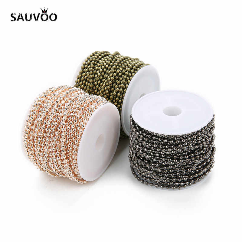 10 Yard/rolle 1,5mm 2mm 2,4mm Runden Ball Perlen Kette 7 Farben Eisen Groß Halskette Kette für DIY Armbänder Schmuck Machen Materialien