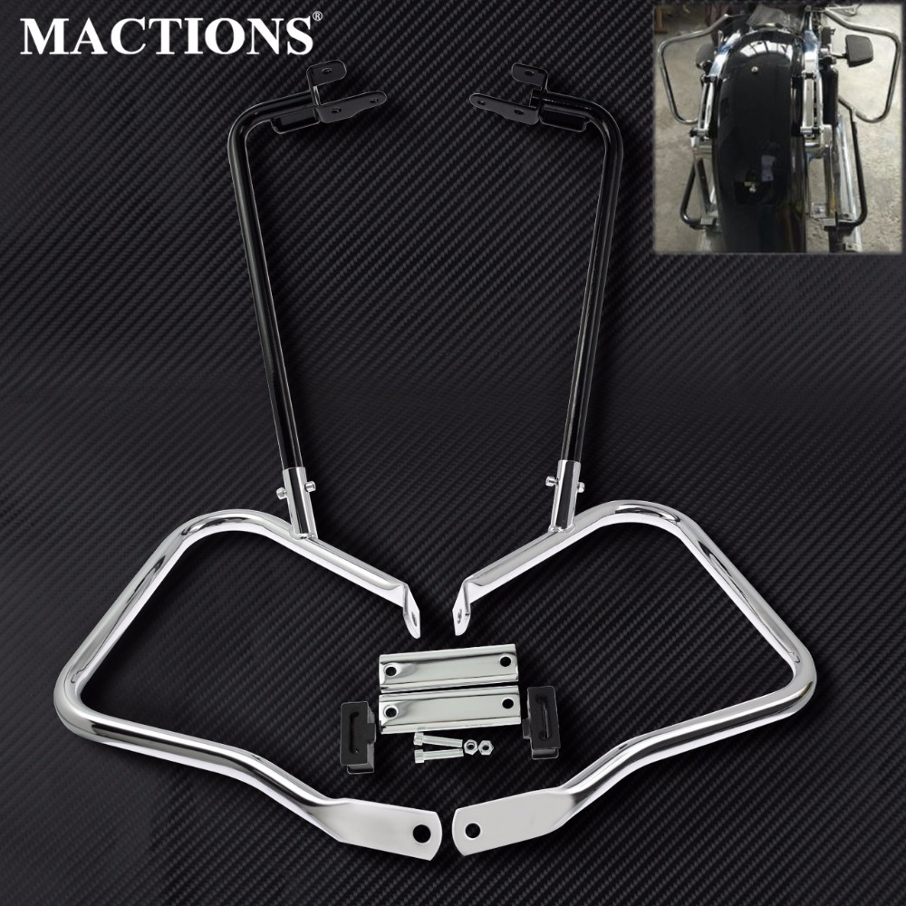 Motorcycle Black Black Chrome Saddlebag Bracket Guard Set w Support Bar For Harley Touring Road King