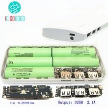 Placa de circuito carregador 3 usb, 5v 1a 1.5a 2.1a placa de circuito impulsionador módulo de energia + 5S kit diy 18650 caixa de caixa de íon lítio