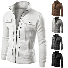 Men Solid Color Jacket Slim Fit Stand Collar Zipper Short Coat Winter Outwear