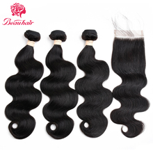Peruvian Body Wave With Closure 3 Bundles Beauhair Weave Bundle Non Remy Human Hair Bundle With Closure