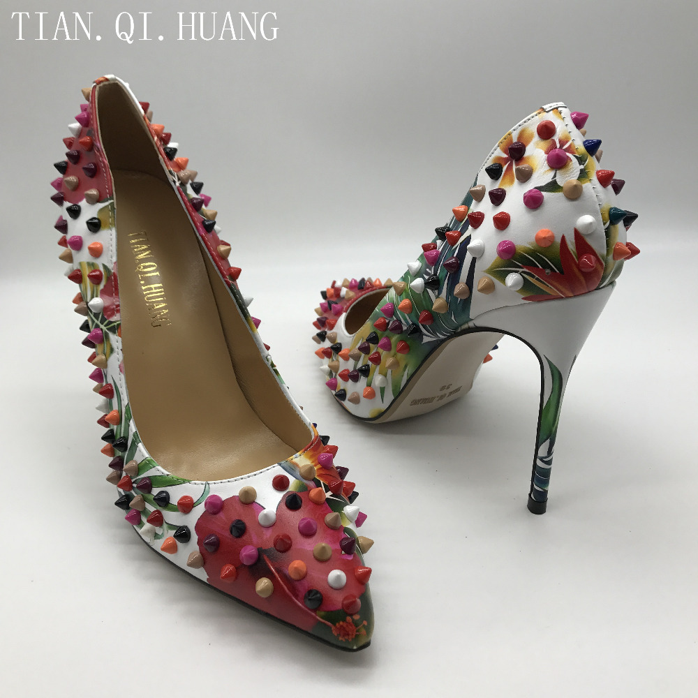 2017 New Arrival Rivet Women Pumps Genuine Leather High Heels Fashion Casual Wedding Shoes Woman Party TIAN.QI.HUANG 1
