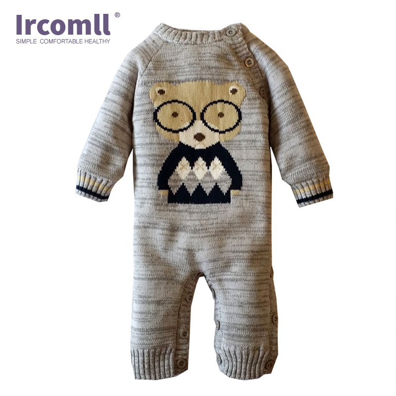 Ircomll Cartoon Animal Baby Knitted Romper Cotton Plus Fleece O-Neck Newborn Baby Boy Girl Clothes Jumpsuit Baby onesie newborn autumn winter clothes baby romper clothing long sleeve cotton animal baby bebe onesie girl boy cartoon warm jumpsuit