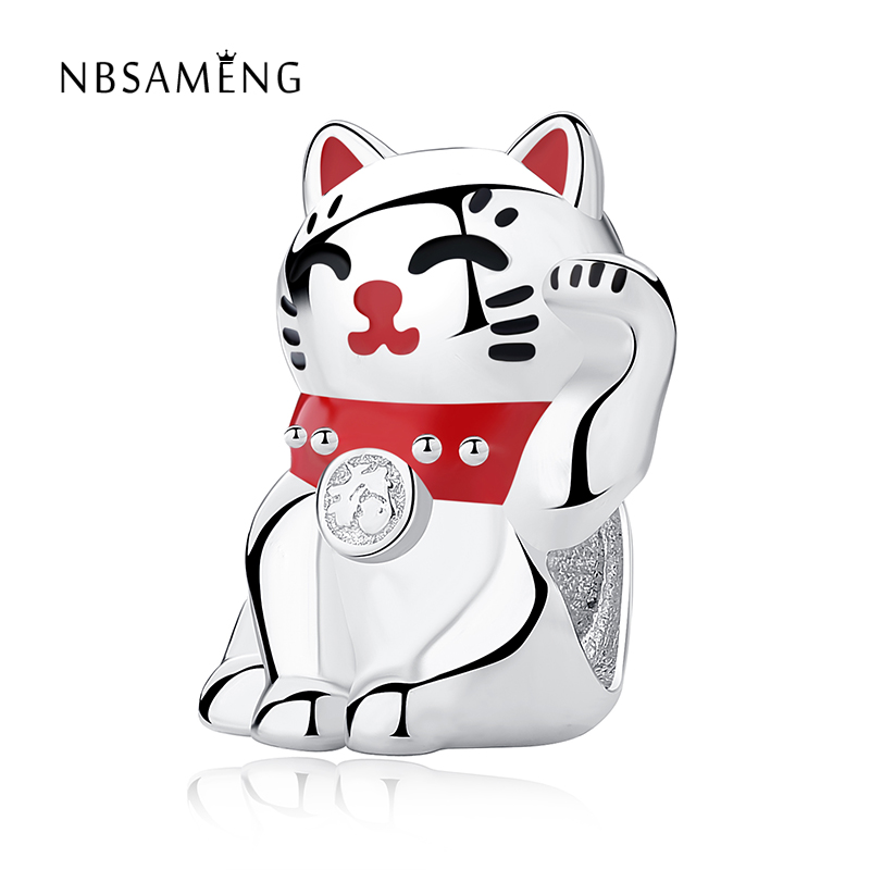 925 Sterling Silver Sweet Cat Animals Beads Fit Original Pandora Charms Bracelets Diy Enamel Beads Jewelry Making