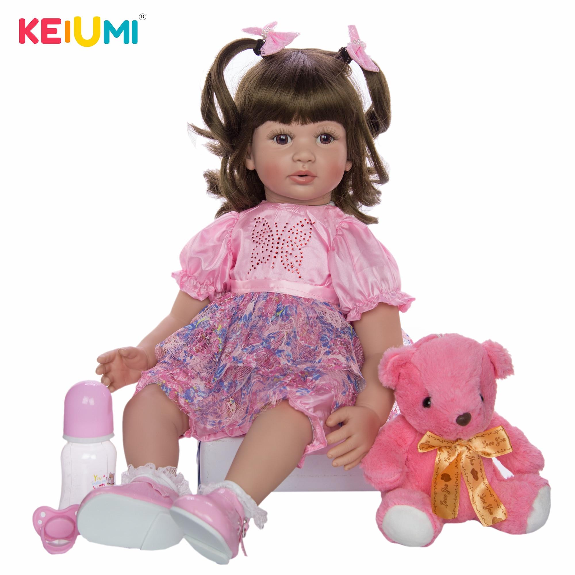 KEIUMI 24 Inch Reborn Puppen 60cm Tuch Körper Neugeborenen Mädchen Babys Spielzeug Prinzessin Boneca Baby Puppe Für Verkauf Kid geburtstag Geschenk Sammeln