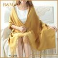 Удивительные новое мода сплошной цвет желтый женщины шарфы новейший шарф платок шею теплым
