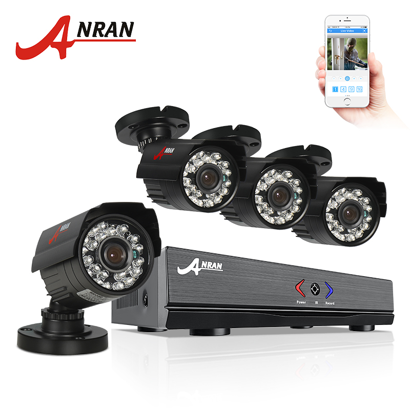 ANRAN 4CH HDMI 1080N AHD DVR HD Day Night 1800TVL Waterproof Outdoor 24IR IR-Cut Camera CCTV Home Surveillance Security System ahd 24ch 1080n hdmi dvr set security camera system 24pcs ahd 720p 1800tvl 3 ir outdoor night vision home surveillance camera