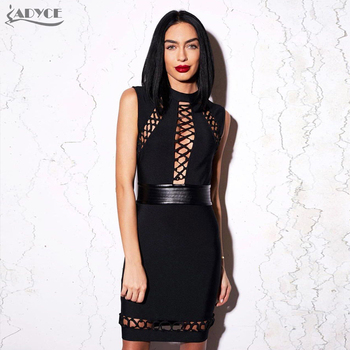Black Bodycon Hollow Out tied Sleeveless PU patchwork Party Dress Celebrity Bandage Dress