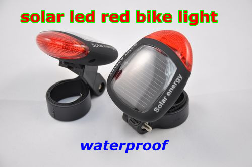 10pcs/lot,Airmail shipping,solar panel led bike rear light, waterproof red led bicycle tail light,to make riding more safe