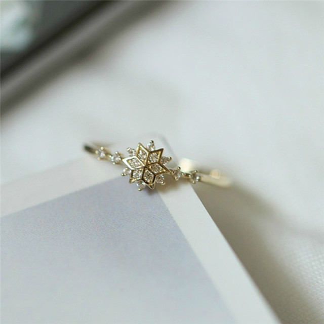 ROMAD Cute Women's Snowflake Rings Female Chic Dainty Rings Party Delicate Rings Wedding Jewelry 3 Colors Size 5-11 R4 6