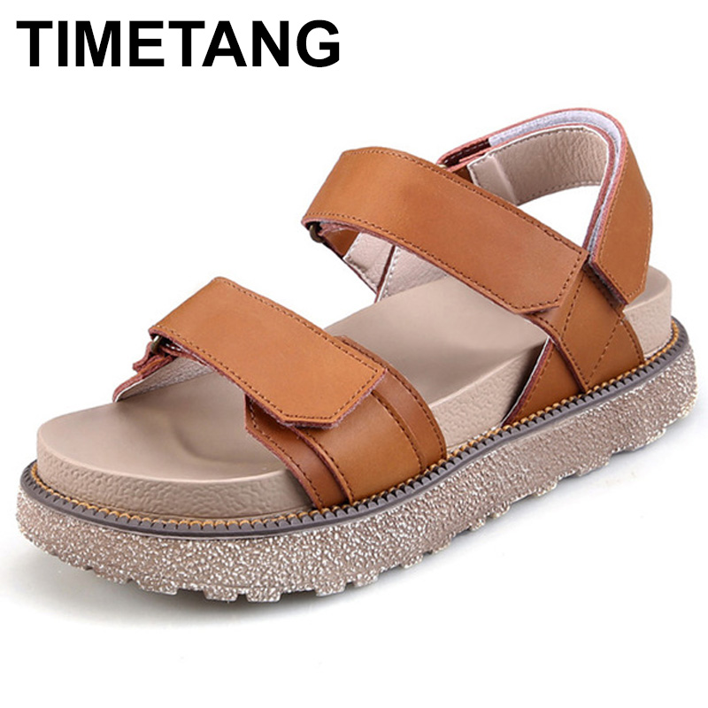 TIMETANG New 2018 Summer Shoes Women Sandals Flat Platform Shoes Sweet Women's Beach Sandals Thick Sole Big Size 43 C187 anmairon shallow leisure striped sandals women flats shoes new big size34 43 pu free shipping fashion hot sale platform sandals