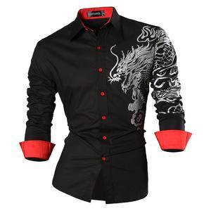 Image 3 - Sportrendy גברים של שמלת חולצה מקרית ארוך שרוול Slim Fit אופנה הדרקון אופנתי JZS044 כהה