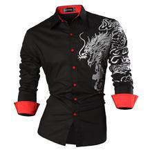 Sportrendy koszula męska sukienka na co dzień z długim rękawem Slim Fit Fashion Dragon stylowa JZS041