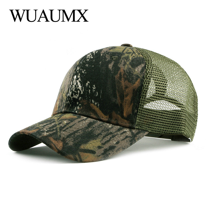 Wuaumx Casual Summer Mesh Cap Camouflage Baseball Caps For Men Women Breathable Net Hats And Outdoor Snapback casquette