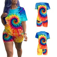 цена на Summer Print 2 Piece Set Women Tie Dye T Shirt And Biker Shorts Set O-Neck Tracksuit Women Festival Clothing Matching Sets