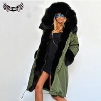 ArmyGreen Russian Fur Coats Real Fur Parka Hooded Capped Woman Winter 2019 Whole Skin Denim Fur Jackets Fox Coat Natural Fur