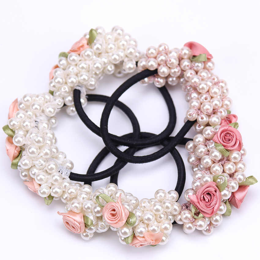 1PC Fashion Girl Cute Hair Ring Small Fresh Flower Beaded Pearl Headband Rubber Band Elastic Hair Bands Girl Hair Accessories