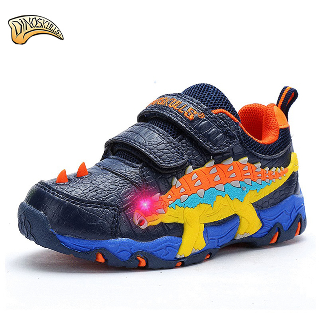 Dinoskulls Children Kids Shoes Boys Sneakers 2018 Warm Leather Sport Shoes  3D Dinosaur Shoes Luminous LED