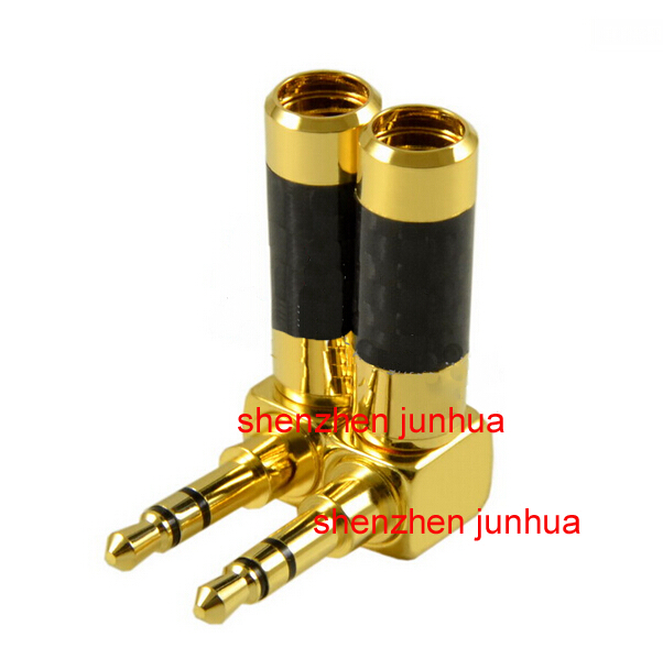 24K Gold Plated audio 3.5mm 3 pole Mini jack Stereo Male plug Carbon Fiber 90 Degree angle Adapter Solder Connector 1pcs 4pcs gold plated right angle rca adaptor male to female plug connector 90 degree