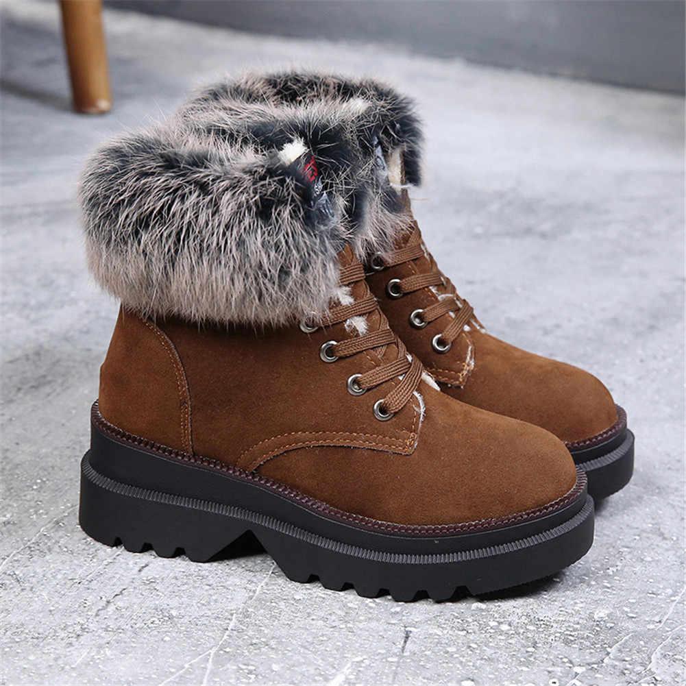 KARINLUNA/2019 г. новые зимние ботинки однотонная нескользящая обувь на шнуровке с круглым носком женские повседневные Теплые Зимние ботильоны на меху черного цвета