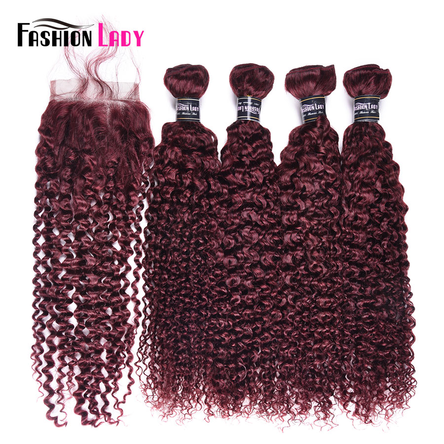 Fashion Lady Pre-Colored Brazilian Kinky Curly Bundles With Closure 99j Red Hair Bundles 4 Bundles With Closure Non-Remy