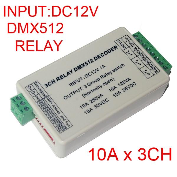 Wholesale 1pcs DC12V 3CH Relays DMX512 3P Led Decoder Dimmer,10A*3 Channel RGB Led Controller For Led Lamp Led Strip Lights