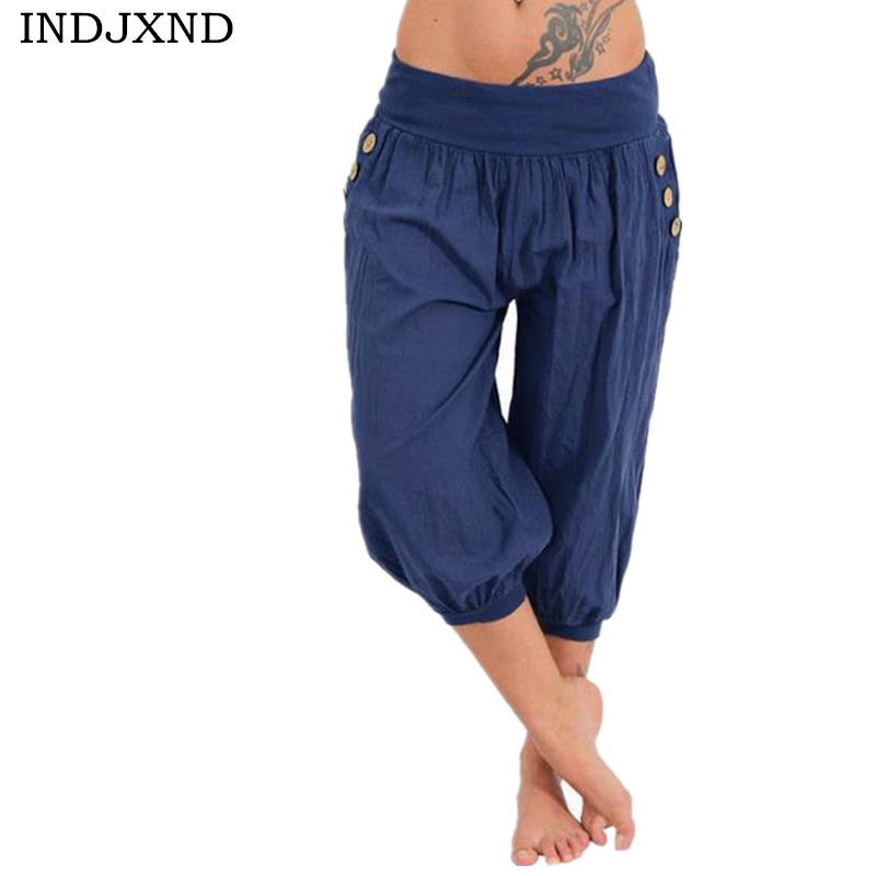 INDJXND Plus Size Women   Pants   Half Short   Capris   Brand New Harem   Pant   2018 Casual Bottoms Elastic Vintage Fat MM Loose Trousers