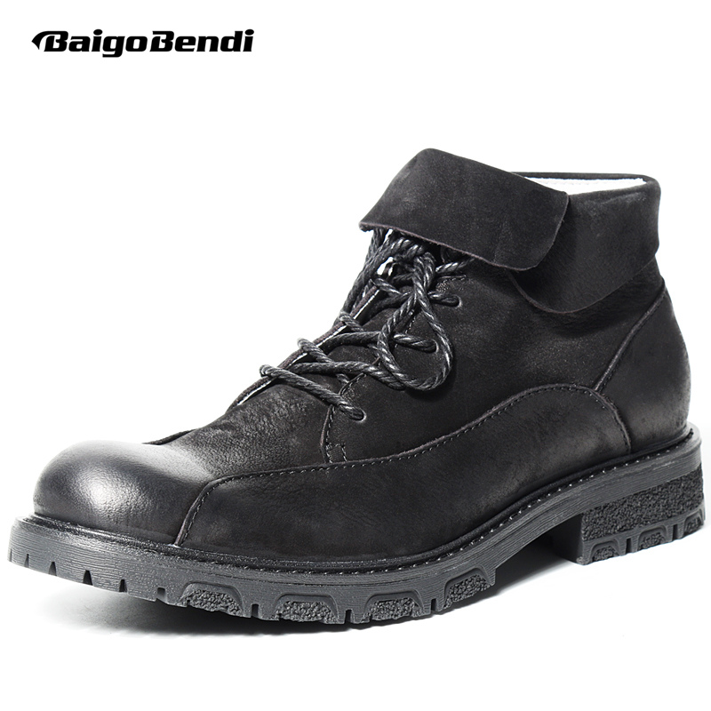 купить Super Recommend !! !Mens Genuine Leather Round Toe Lace Up Martin Boots Business Man Warm plush Snow Boots Casual Winter Boots по цене 5362.96 рублей