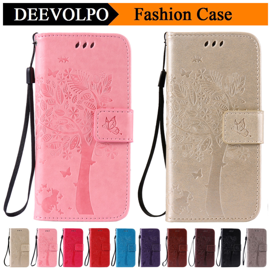 DEEVOLPO Leather Case For Wiko Lenny 2 3 Slide 2 Pulp FAB 4G Cover For One Plus Three 1+3 Tree Cat Wallet Capa Fundas DP08