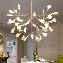 купить Modern glowworm acrylic LED pendant light fixture norbic creative home deco dinning room iron branch leaf pendant lamp по цене 7655.55 рублей