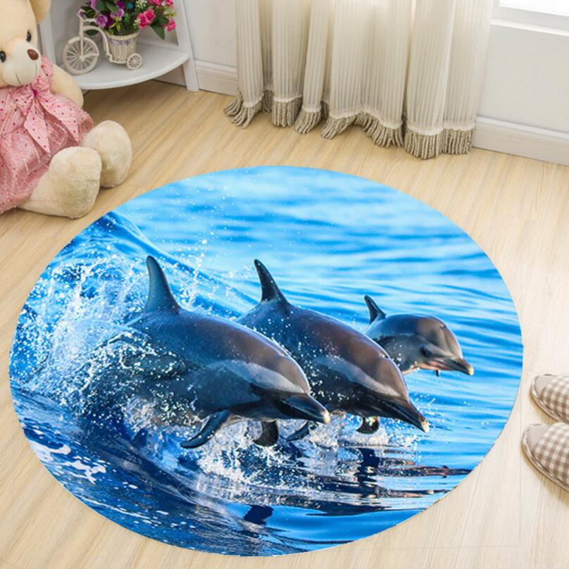 EMS FREE Cartoon 3D Printing Round Shape Kids Bedroom Carpet Living Room Study Floor Mat Tea Table Rug Chair Foot Pad Easy wash