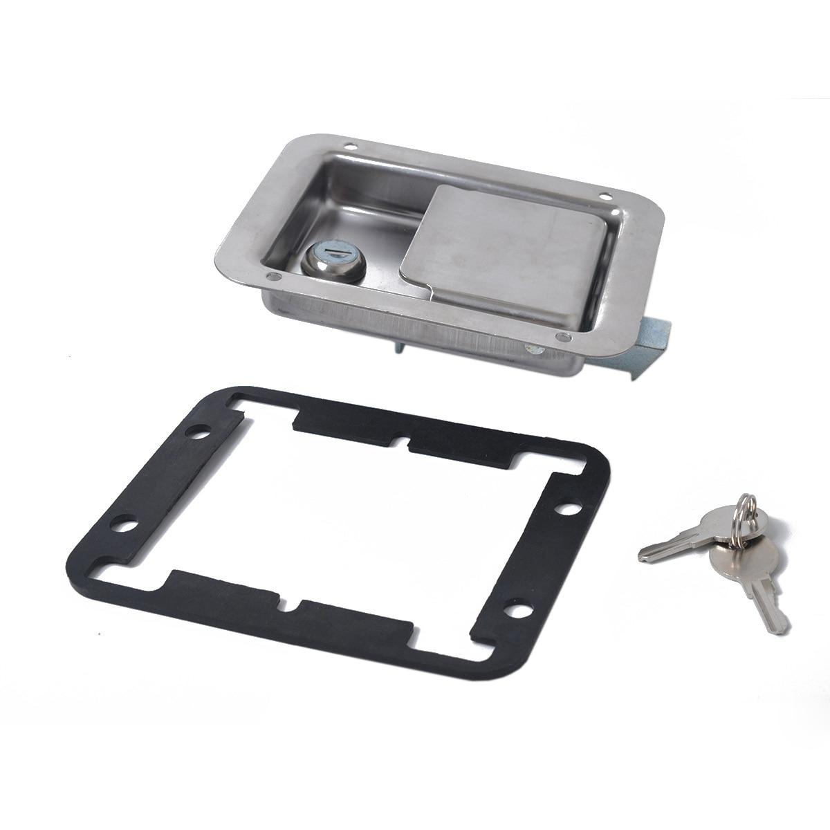 自動ハードウェア 2 パックステンレス鋼パドルスラムラッチロック & キーフラッシュシングルポイントハンドルドアトレーラー RV ジープ -