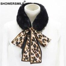 SHOWERSMILE Leopard Fake Collar For Women Spring Autumn Fur Detachable Ladies Fashion Designer Brand Faux