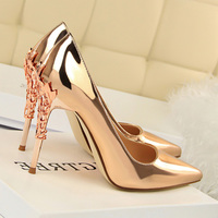 BIGTREE 2018 Summer Women 10cm High Heels Pumps Sexy Gold Sliver Fetish Heels Female Party Wedding Bridal Prom Escarpins Shoes