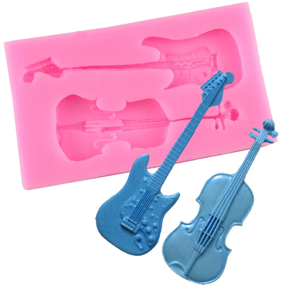 Devoted 1 Set 3d Violin Sample Form Plastic Fondant Chocolate Cake Molds Cake Decorating Tools Kitchen Baking Tools With 2 Clips Cake Molds