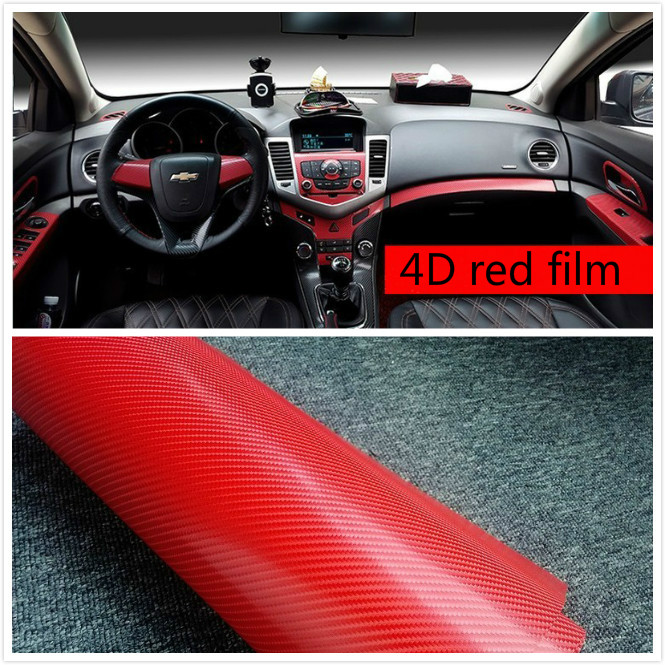 300mm x 1520mm Car Styling 4D Carbon Red Fiber Vinyl Wrap Sheet Film Bubble Air Free Sticker Emblem Body Kit hot sale 1pc longhorn hilux 900mm graphic vinyl sticker for toyota hilux decals badges detailing sticker car styling accessories