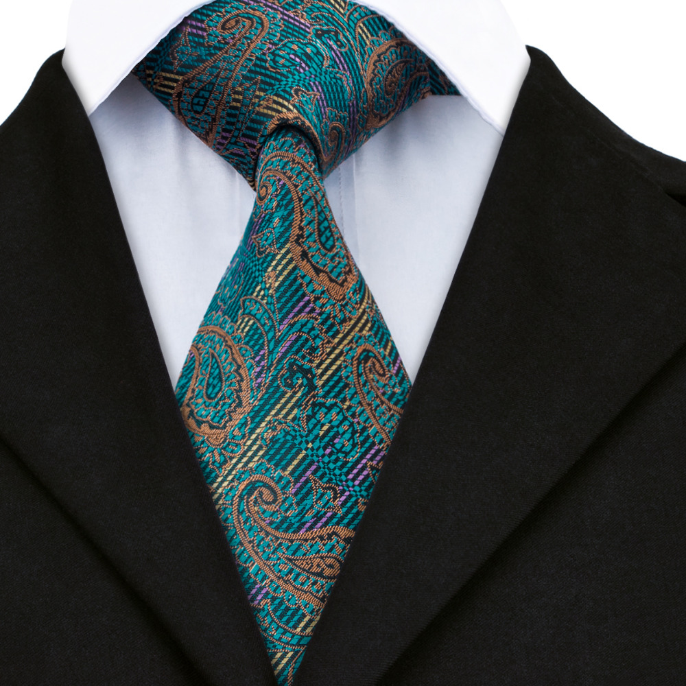 Dark Green Tie Teal Brown Paisley Handmade 100/% Silk Wedding Necktie 8cm Width