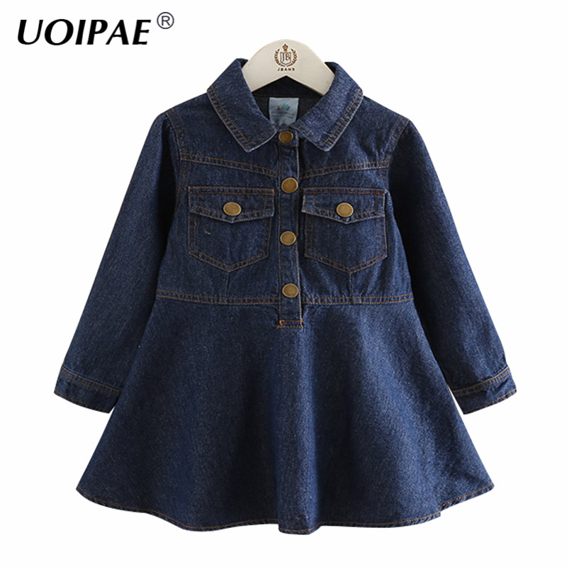 UOIPAE Girl Party Dress 2018 Casual Autumn Solid Color Dress For Kids Long Sleeve Single-breasted Simple Girls Clothes B0750 uoipae party dress girls 2018 autumn