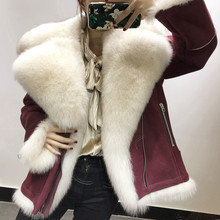 Real Merino Sheep Fur Shearling Jacket Women Super Luxary Full Pelt Natural Fur Coat Real Fox Fur Collar Genuine Leather Rf0263