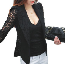 2017 Spring Autumn New Fashion Women Sheer Lace Floral Patchwork Slim OL Formal Blazer Coat Black White Suits Jacket Tops