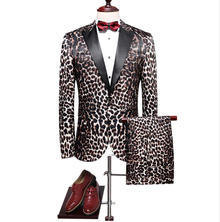 Jacket+Pants 2019 High Quality Leopard Print Wedding Suits Men Casual Business Suits Blazers Grooming 2 Pieces Tuxedos Suits