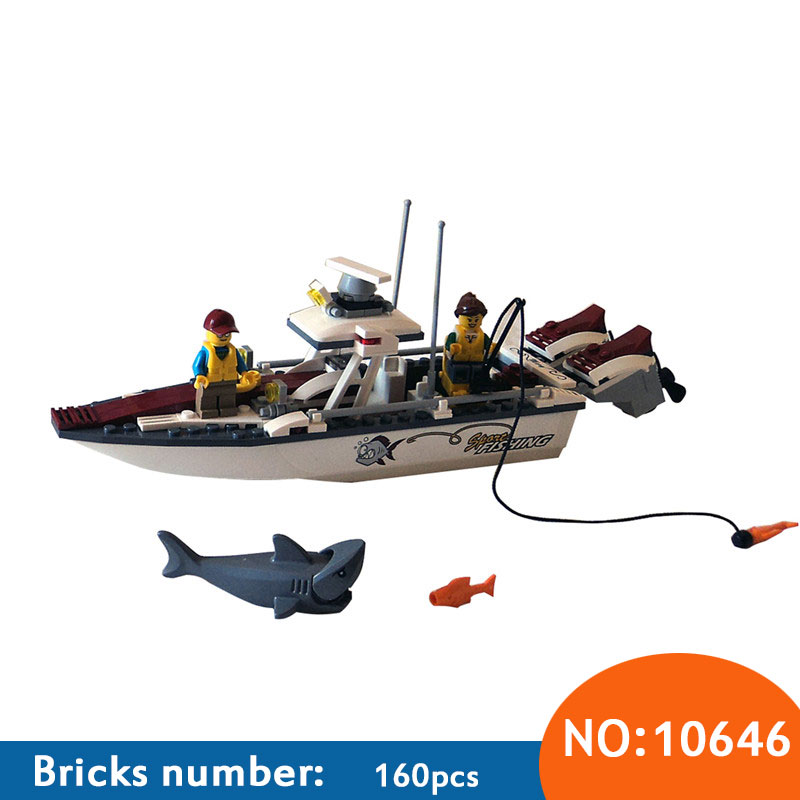 10646 160Pcs City Figures Fishing Boat Model Building Kits Blocks DIY Bricks Toys For Children Gift Compatible 60147 10646 160pcs city figures fishing boat model building kits blocks diy bricks toys for children gift compatible 60147