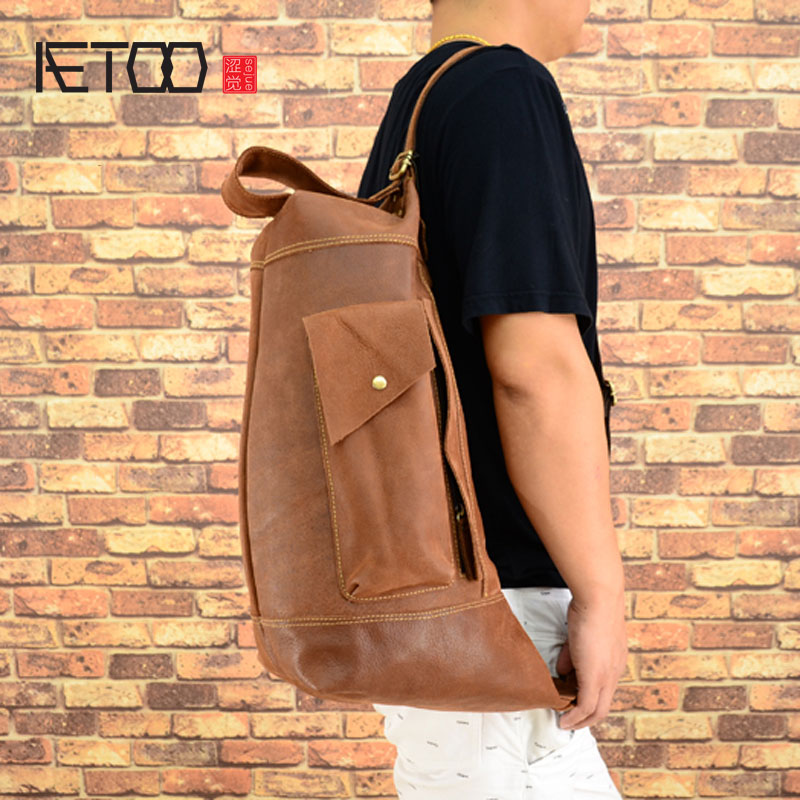 AETOO Original men's leather shoulder oblique package retro mad horse skin men's first layer of leather Korean version of the wa aetoo the new retro mad horse skin backpack fashion shoulder shoulder leather package tide package