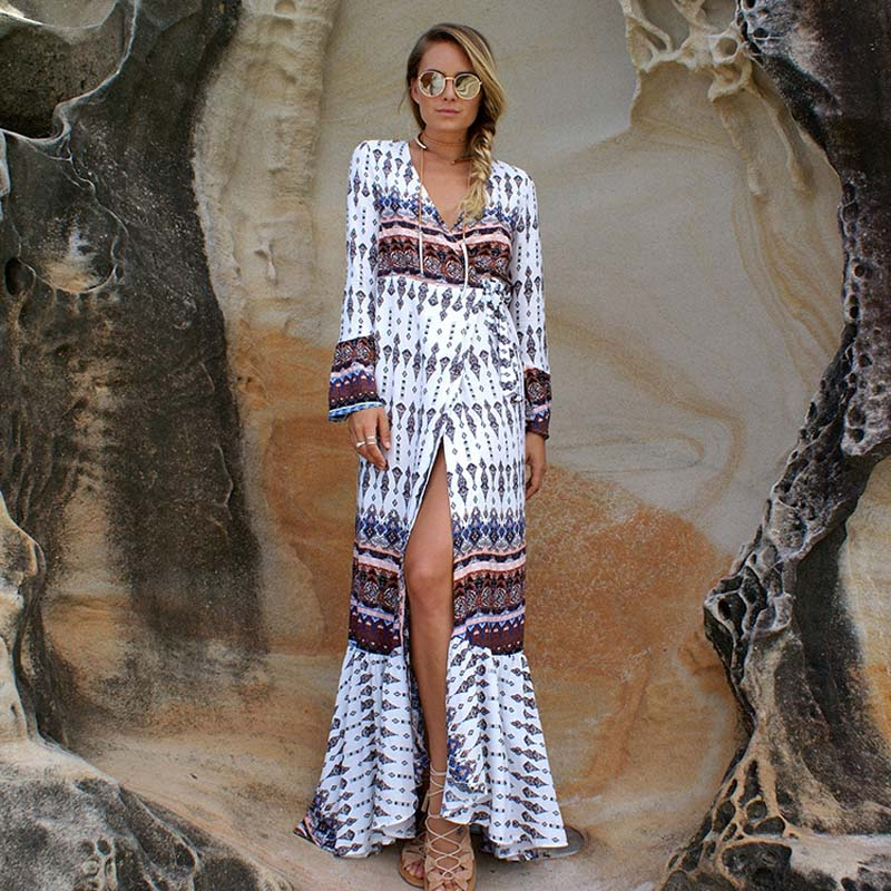 Boho dress frauen blumendruck lange flare hülse dress femme urlaub v-ausschnitt sexy dress böhmischen lose strand maxi dress vestidos