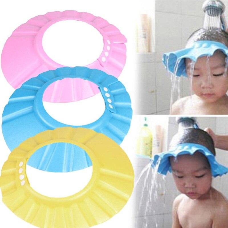 2020 marke Neue Baby Kinder Kinder Sicher Shampoo Bad Bade Dusche Kappe Hut Waschen Haar Schild einstellbare elastische Shampoo Kappe