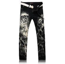Men Painted Jeans Men s Clothing 2017 New Foreign Painting Printing Cotton Denim Trousers Man Casual